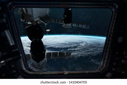 Space station orbiting Earth planet. Elements of this image furnished by NASA