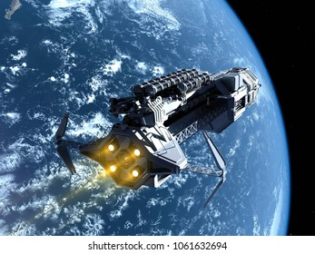 """Space station in outer space """"Elemen ts of this image furnished by NASA"""", 3d render"""