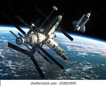 Space Station And Space Shuttle. 3D Scene. Elements of this image furnished by NASA.