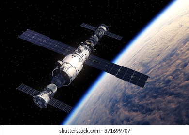 Space Station And Spaceships Orbiting Earth. 3D Scene.