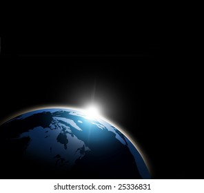 Space Sun Rising background with computer generated globe