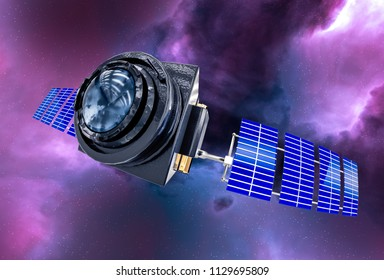 Space Telescope concept 3D rendering in the space purple nebula