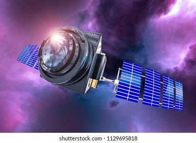 Space Telescope concept 3D rendering in the space purple nebula lens flare