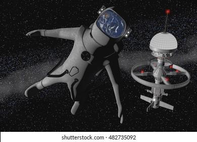 Space tourist, a astronaut has fun (3d rendering)