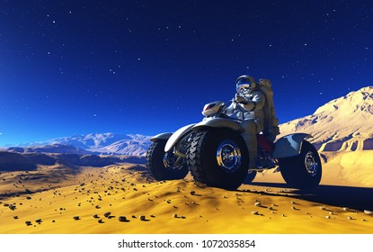 Space transport on the planet.,3d render