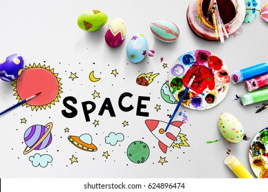 Space Universe Arts Drawing Painting Colorful
