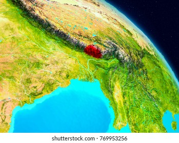Space view of Bhutan highlighted in red on planet Earth. 3D illustration. Elements of this image furnished by NASA.