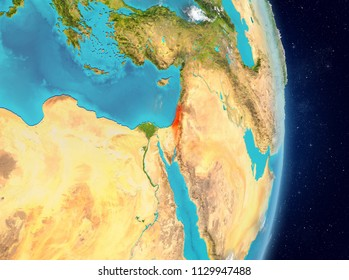 Space view of Israel highlighted in red on planet Earth with atmosphere. 3D illustration. Elements of this image furnished by NASA.