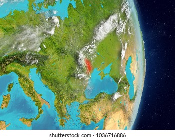 Space view of Moldova highlighted in red on planet Earth with atmosphere. 3D illustration. Elements of this image furnished by NASA.