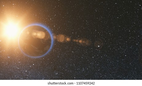 Space view on Planet Earth and Sun Star rotating on its axis in black Universe. Seamless loop with day and night city lights change. Astronomy and science concept. Elements of image furnished by NASA