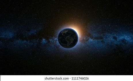 Space view on Planet Earth and Sun Star rotating on its axis in black Universe. Milky Way in the background. Seamless loop with day and night city lights change. Elements of image furnished by NASA