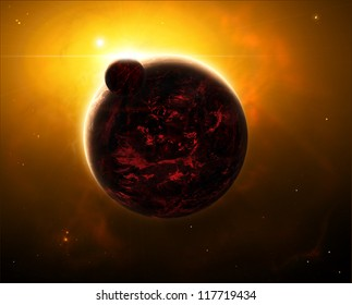Space view of a sunrise over volcano planet with a moon or can also be seen as one of the armageddon scenarios