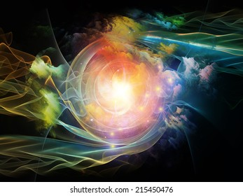 Space Vortex series. Abstract design made of translucent vortex, fractal elements, lights and textures on the subject of science, technology and design