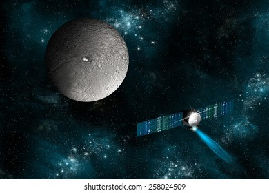 The spacecraft Dawn as it approaches an encounter with Ceres. The satellite will investigate the two bright spots on the surface of the dwarf planet. Elements of this image furnished by NASA.