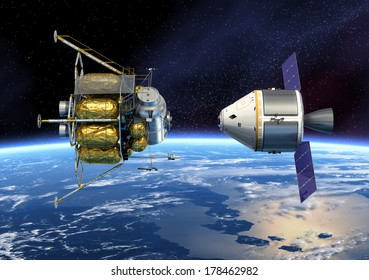 Spacecraft Docking. 3D Scene. Elements of this image furnished by NASA.