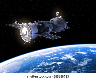 Spacecraft Flying Over The Planet Earth. 3D Illustration.