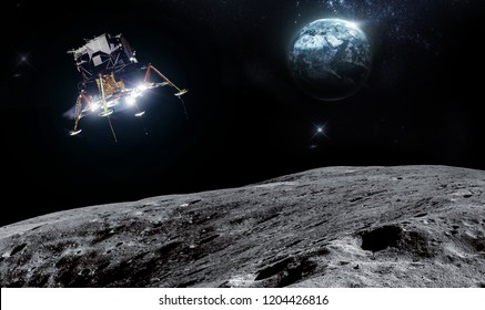Spacecraft landed on surface of Moon. Planet Earth on background. Elements of this image furnished by NASA.