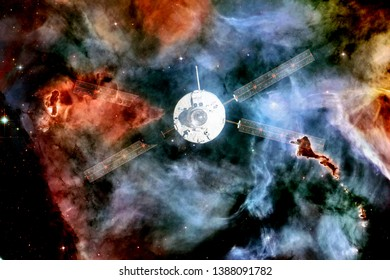 Spacecraft launch into space. Beauty of outer space. Billions of galaxies in the universe. Elements of this image furnished by NASA