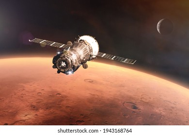 Spacecraft launch into space on Mars planet background. Elements of this image furnished by NASA.
