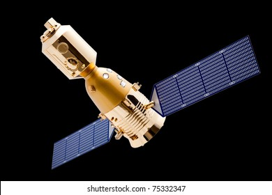 Spacecraft on black background with a good clipping path