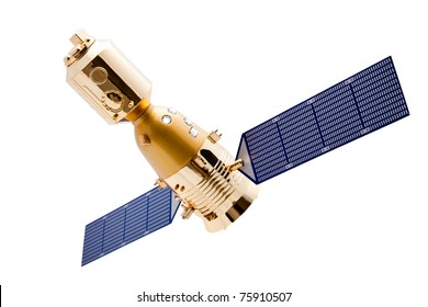 Spacecraft on white background with a good clipping path