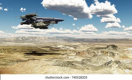 Spacecraft over a desert landscape Computer generated 3D illustration