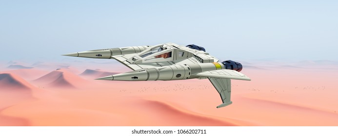 Spacecraft over a sand desert Computer generated 3D illustration