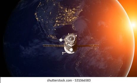 Spacecraft Progress orbiting the earth. Elements of this image furnished by NASA.