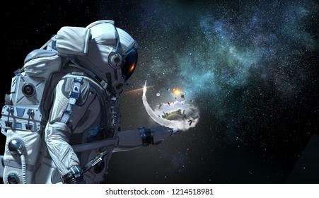 Spaceman and his mission. Mixed media