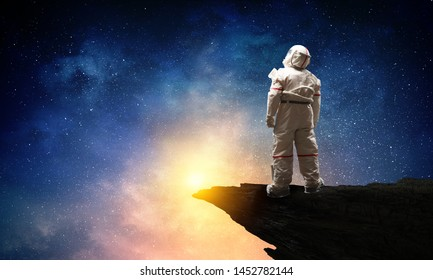 Spaceman and the planet Earth abstract theme