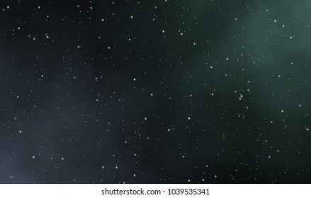 Spacescape illustration of nebula and glowing stars in deep universe, astronomy graphic design background.