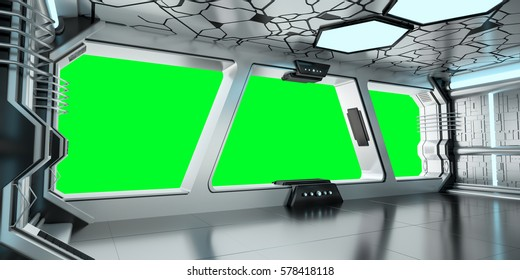 Spaceship blue and white interior with green window view 3D rendering