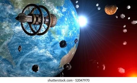 Spaceship flight through asteroids field between Earth and Venus, Sun system