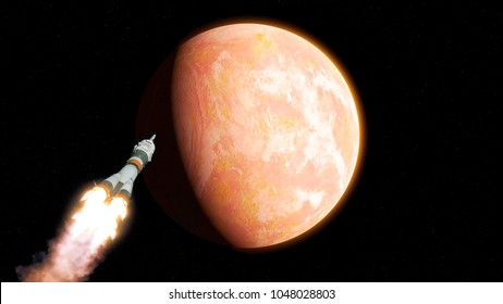 Spaceship go to mars. Elements of this image furnished by NASA