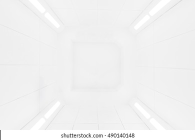 Spaceship interior center view with bright white texture, futuristic interior corridor, space ship, Futuristic architecture.