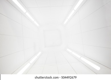 Spaceship interior center view with bright white texture, futuristic interior corridor, space ship, Futuristic architecture