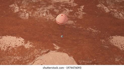 Spaceship landing on Mars with parachute
