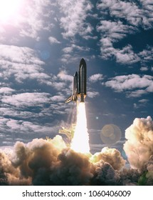 Spaceship launch. The elements of this image furnished by NASA.