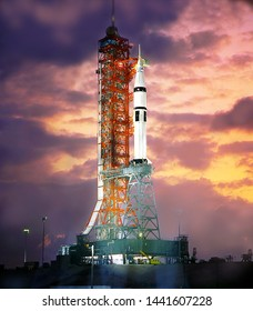 Spaceship at the launch site in the spaceport. Silhouette of space shuttle at dusk. Amazing landscape of rocket on the eve of launch. Some elements of this image are furnished by NASA