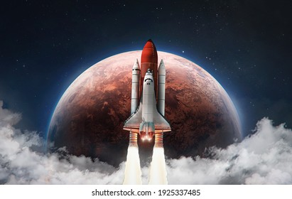 Spaceship in the outer space on orbit of Mars planet. Space shuttle in sky with clouds. Exploration of Red planet. Elements of this image furnished by NASA