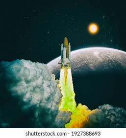 Spaceship takes off into the starry sky. Launch of Space . Elements of this image furnished by NASA