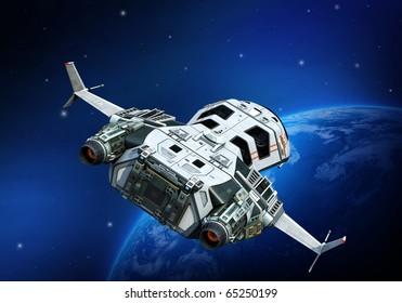 spaceship turning around planet