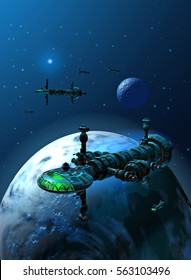 spaceships orbiting a habitable planet with a moon and stars in the background, 3d illustration