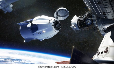 SpaceX Crew Dragon spacecraft docking to the International Space Station. Dragon is capable of carrying up to 7 passengers to and from Earth orbit, and beyond. Elements of this image furnished by NASA - Shutterstock ID 1750157090