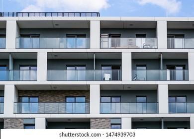 Spacious balconie. Architectural detail of a modern apartament building.