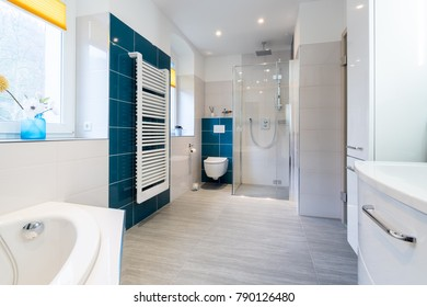 Spacious bathroom in blue and white tones with heated floors, walk-in shower, sink vanity and skylights.