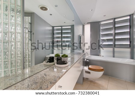 Spacious Bathroom Clean Beautiful Luxurious Bright Stock Photo Edit