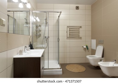 Spacious bathroom with toilet, bidet and shower in brown tones