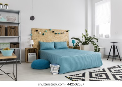 Spacious bedroom with large bed, blue bedding and simple, new furniture, white walls