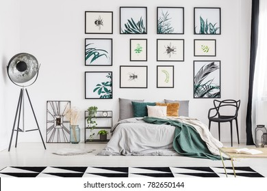 Spacious botanic themed bedroom interior decorated with posters of herbs and bugs